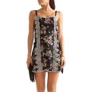 ANNA SUI Lace Paneled Silk Slip Dress 4